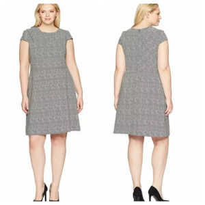 Adrianna Papell Draped Neckline Spotted Dress NWT